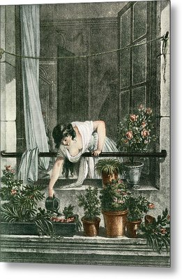 Young Woman Watering Plants Metal Print by Vintage Design Pics