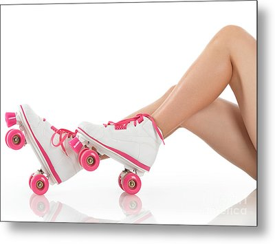 Young Woman Wearing Roller Derby Skates Metal Print by Oleksiy Maksymenko