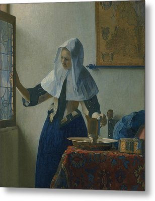 Young Woman With A Water Pitcher  Metal Print by Jan Vermeer