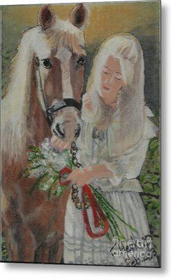 Young Woman With Horse Metal Print