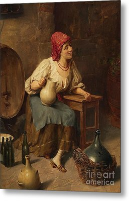 Young Woman With Wine Jugs And Bottles Metal Print by Celestial Images