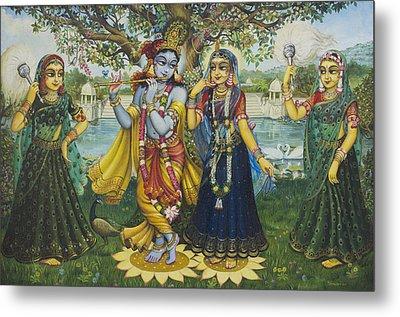 Yugal Kishor. Radha Krishna Metal Print by Vrindavan Das