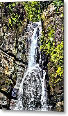 Yunque Waterfall Metal Print by Carey Chen