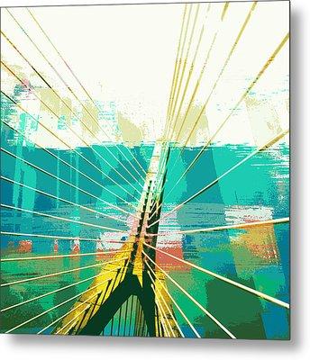 Zakim Bridge Boston V1 Metal Print by Brandi Fitzgerald