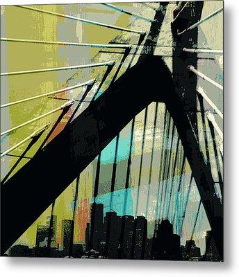 Zakim Bridge Boston V2 Metal Print by Brandi Fitzgerald
