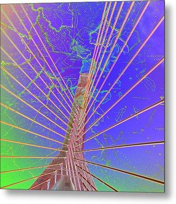 Zakim Bridge Boston V8 Metal Print by Brandi Fitzgerald