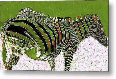 Metal Print featuring the photograph Zany Zebra - Digitally Modified Photograph by Merton Allen