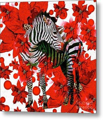 Zebra And Flowers Metal Print by Saundra Myles