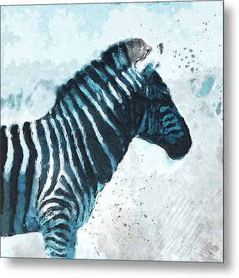 Zebra- Art By Linda Woods Metal Print by Linda Woods
