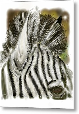 Metal Print featuring the digital art Zebra Digital by Darren Cannell