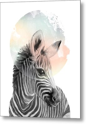 Zebra // Dreaming Metal Print by Amy Hamilton