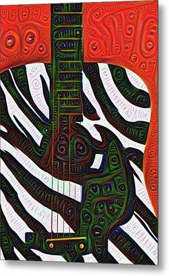 Zebra Guitar Rendering Metal Print by Bill Cannon