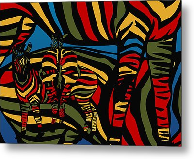 Zebra In The Jungle Metal Print