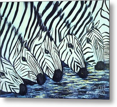 Metal Print featuring the painting Zebra Line by Donna Dixon
