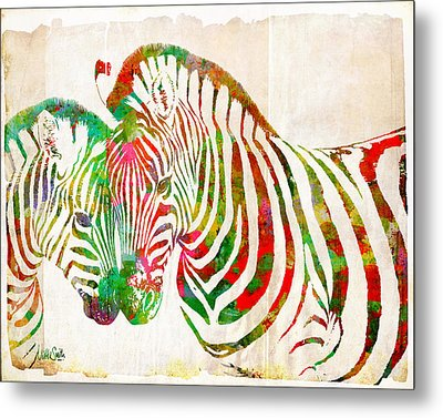 Zebra Lovin Metal Print by Nikki Smith