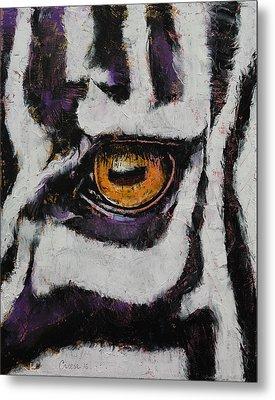 Zebra Metal Print by Michael Creese