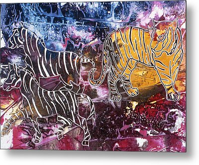 Metal Print featuring the painting Zebra by Sima Amid Wewetzer