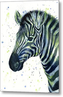 Zebra Watercolor Blue Green  Metal Print by Olga Shvartsur