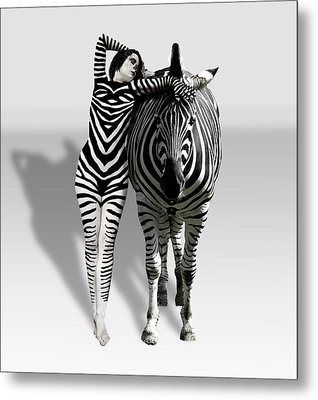 Zebra Woman Metal Print by Lloyd Burchell