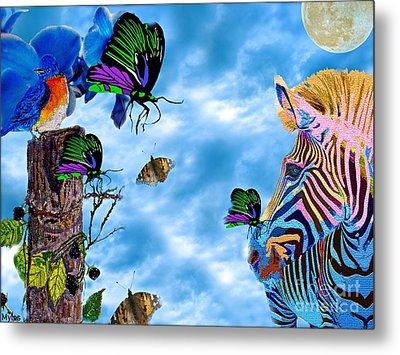 Zebras Birds And Butterflies Good Morning My Friends Metal Print by Saundra Myles