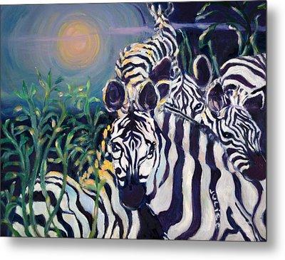 Zebras On The Savanna Metal Print by Julie Todd-Cundiff