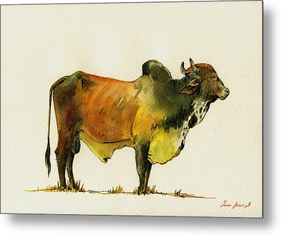 Zebu Cattle Art Painting Metal Print by Juan  Bosco