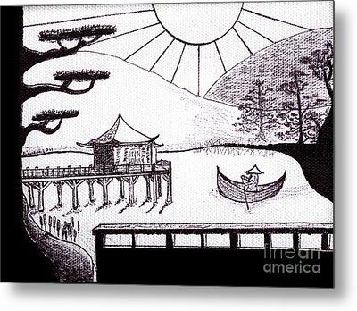 Zen Lake Original Black Ink On White Canvas By Ricardos Metal Print by Ricardos Creations