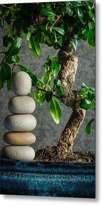 Zen Stones And Bonsai Tree II Metal Print by Marco Oliveira