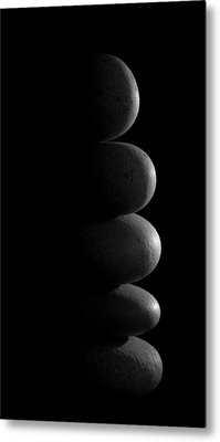 Zen Stones In The Dark Metal Print by Marco Oliveira