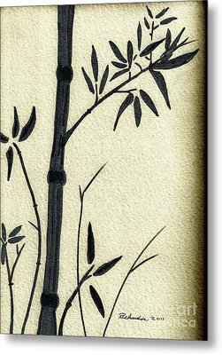 Zen Sumi Antique Bamboo 1a Black Ink On Fine Art Watercolor Paper By Ricardos Metal Print