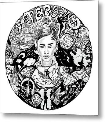 Zendaya's Neverland Black And White Drawing Metal Print