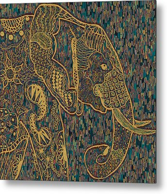 Zentangle Elephant-oil Gold Metal Print by Becky Herrera