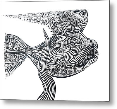 Zentangle Fish Metal Print