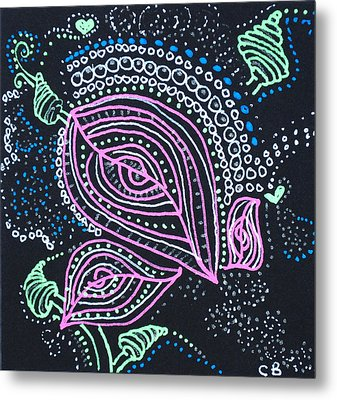 Zentangle Flower Metal Print