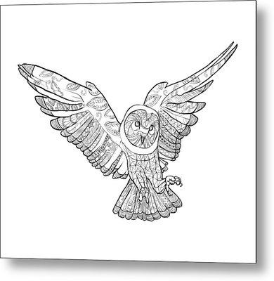 Zentangle Owl In Flight Metal Print