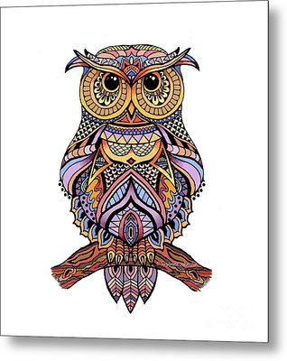Zentangle Owl Metal Print