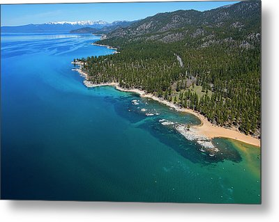Metal Print featuring the photograph Zephyr Cove To Cave Rock Aerial by Brad Scott