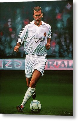 Zidane At Real Madrid Painting Metal Print by Paul Meijering
