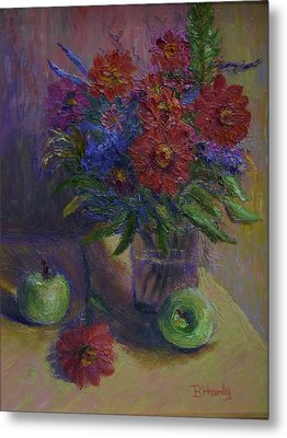 Zinnias And Apples Metal Print by Bonnie Hanly