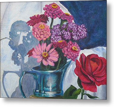 Zinnias And Rose In The Eveing Light  Metal Print by Judy Loper