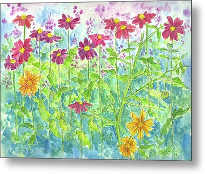 Metal Print featuring the painting Zinnias  by Cathie Richardson