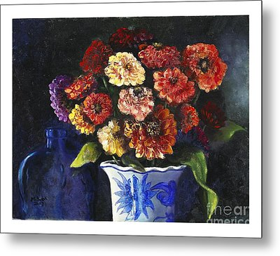 Metal Print featuring the painting Zinnias by Marlene Book