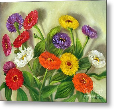 Metal Print featuring the painting Zinnias by Randol Burns