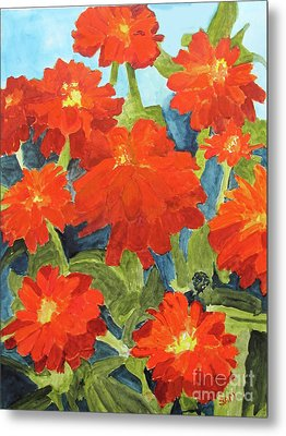 Metal Print featuring the painting Zinnias by Sandy McIntire