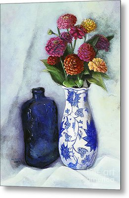 Zinnias With Blue Bottle Metal Print