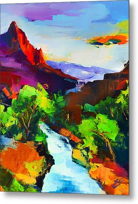Metal Print featuring the painting Zion - The Watchman And The Virgin River by Elise Palmigiani