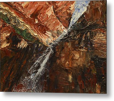 Metal Print featuring the painting Zions Waterfall by Jane Autry