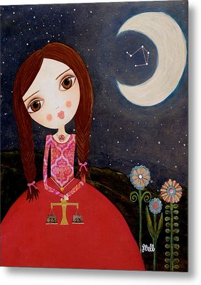 Metal Print featuring the painting Zodiac Libra by Laura Bell