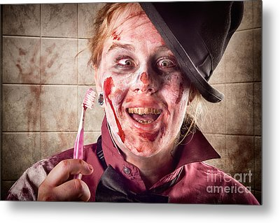 Zombie At Dentist Holding Toothbrush. Tooth Decay Metal Print by Jorgo Photography - Wall Art Gallery