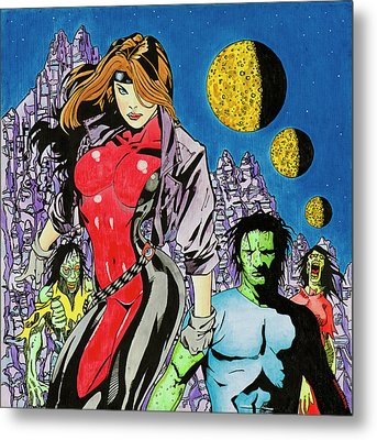 Zombie Encounter At Three Moon Canyon Metal Print by Alan Morrison